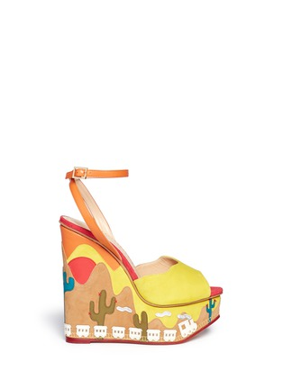 Main View - Click To Enlarge - Charlotte Olympia - 'Wild, Wild Wedge' suede platform sandals