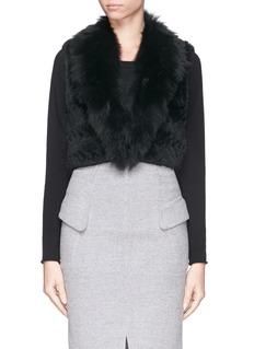 H BRAND'Grace' chevron rabbit fox fur knit cropped gilet