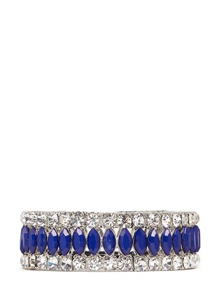 Main View - Click To Enlarge - Kenneth Jay Lane - Crystal and lapis elasticated bracelet
