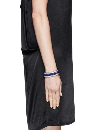 Figure View - Click To Enlarge - Kenneth Jay Lane - Crystal and lapis elasticated bracelet