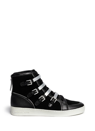 Main View - Click To Enlarge - Michael Kors - 'Kimberly' suede and leather sneakers
