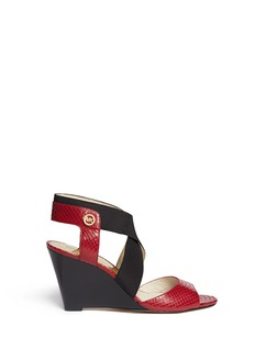 MICHAEL MICHAEL KORS 'Meadow' snakeskin-effect leather wedge sandals