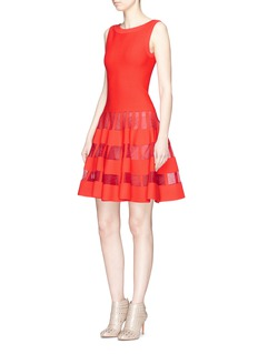 Alaïa 'Clair Obscur' mesh stripe sleeveless knit flared dress
