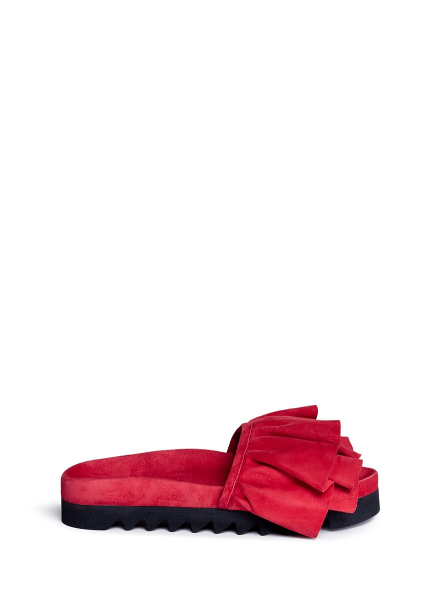 Tiered ruffle band suede slides by Joshua Sanders