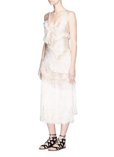 Xu ZhiBraided yarn fringed frayed dress