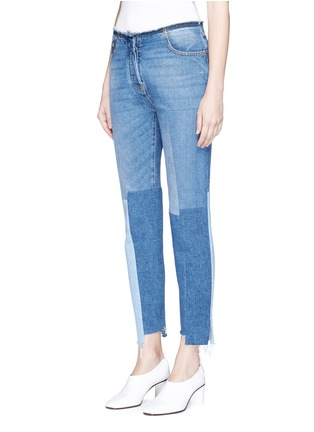 Front View - Click To Enlarge - Valentino - Washed patchwork jeans