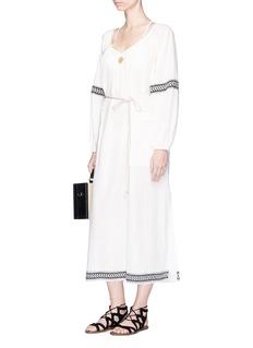 Lemlem'Zana' metallic stripe jacquard trim dress