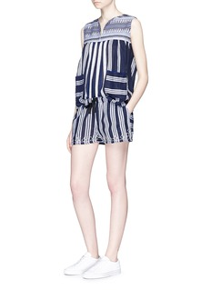 Lemlem 'Edna' embroidered drawstring waist stripe shorts