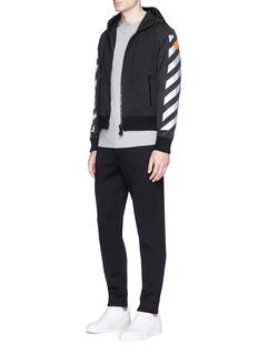 Moncler Capsulex Off-White reflective print nylon sleeve zip hoodie
