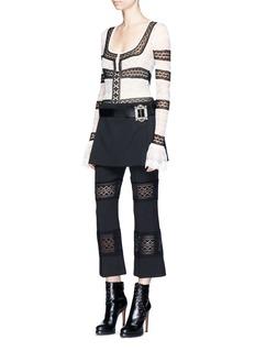 Alexander McQueenJewelled buckle leather belt virgin wool skirt