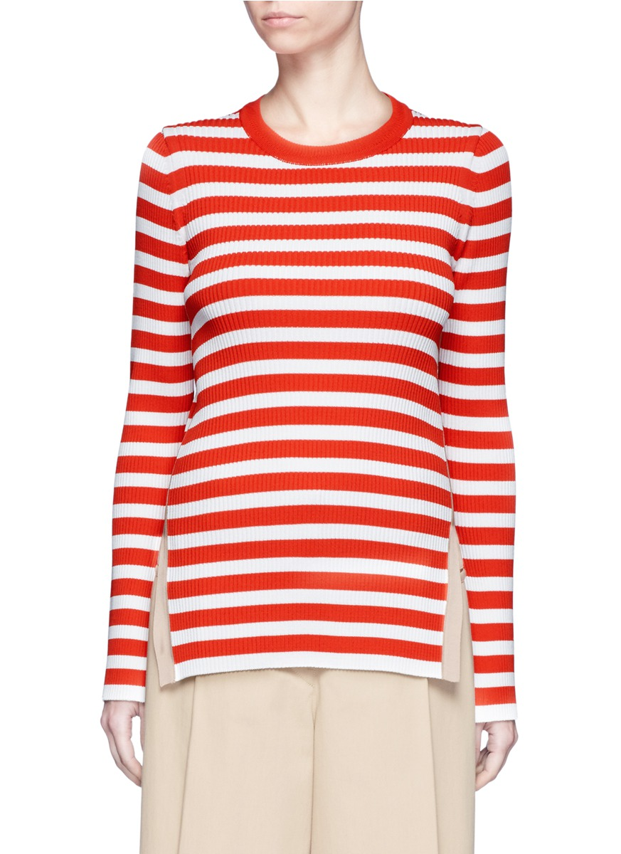 Contrast outseam stripe sweater by KUHO