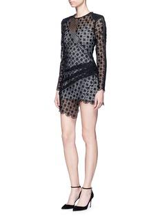 self-portrait'Strike' asymmetric dot guipure lace mini dress