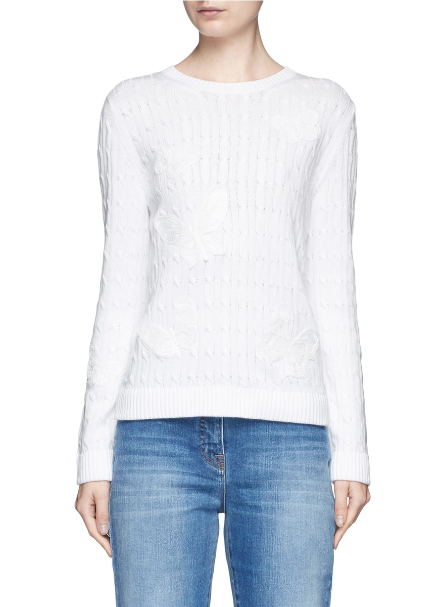 Beaded butterfly appliqué cable knit sweater by Valentino