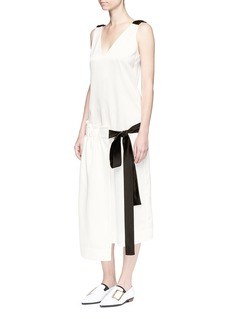 Victoria Beckham Asymmetric ruched apron midi dress