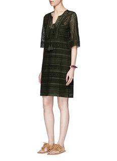 Figue'Marlin' tassel tie geometric eyelet lace dress