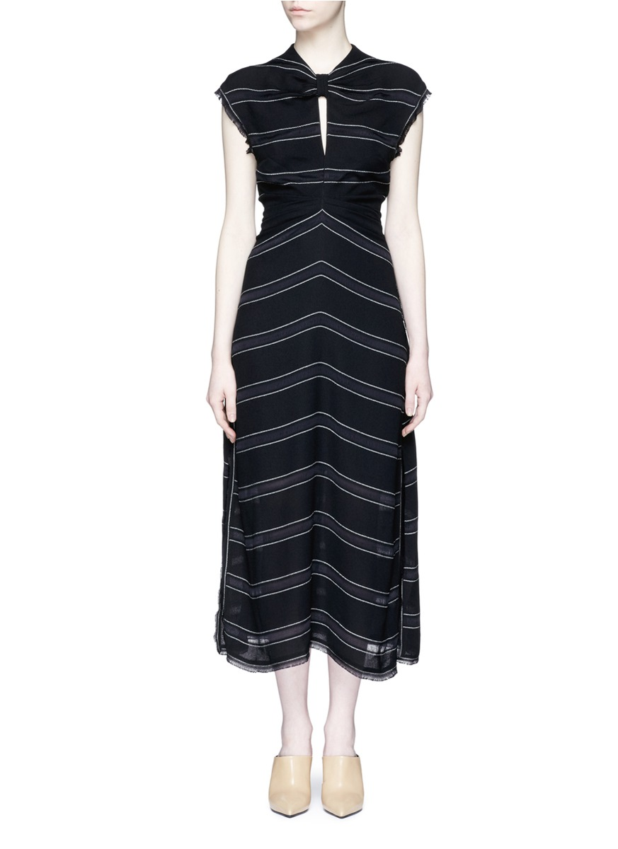 Tie open back pinstripe crepe dress by Proenza Schouler