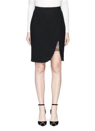 Main View - Click To Enlarge - Alexander Wang  - Lace-up split pencil skirt