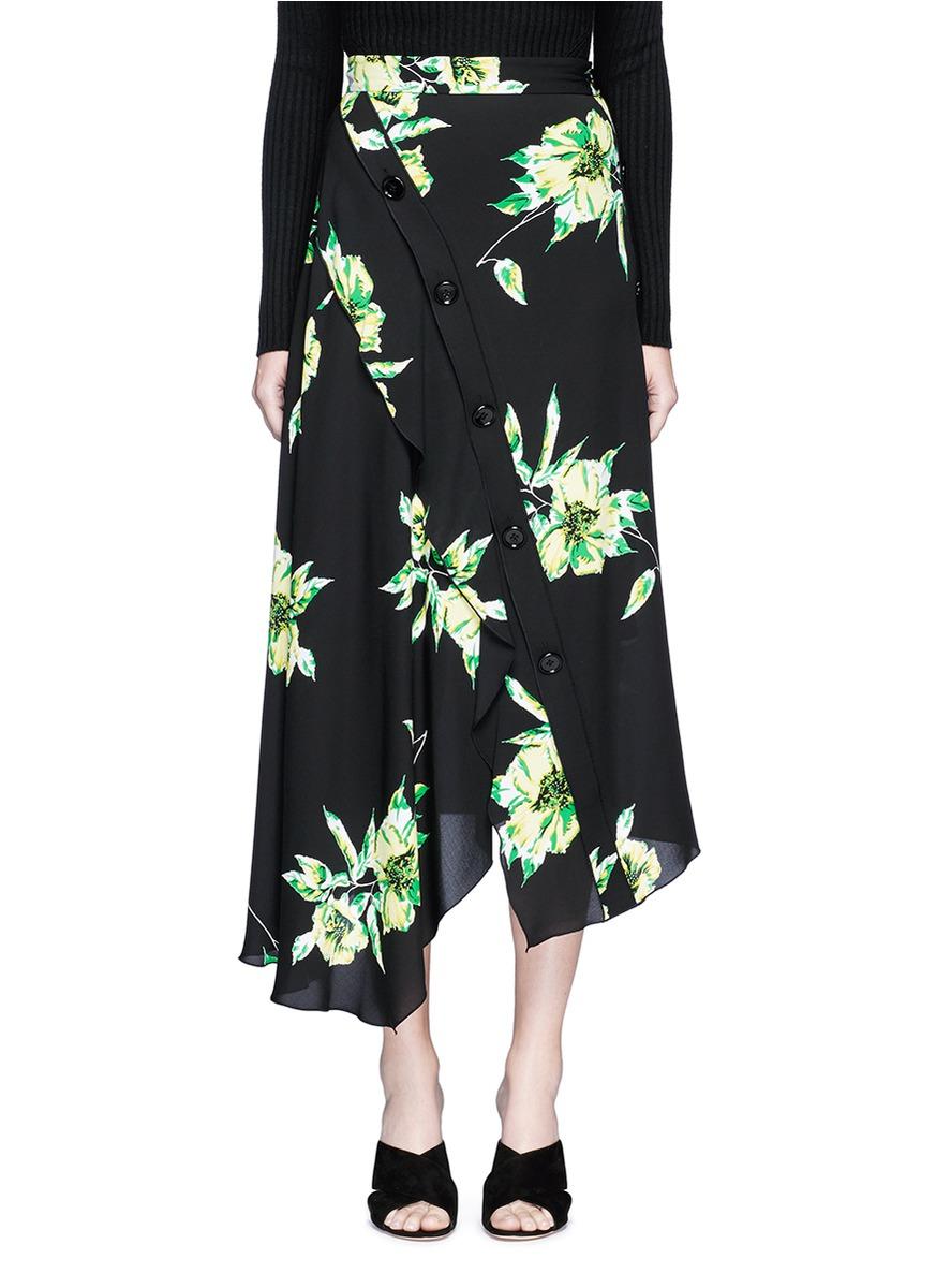 proenza schouler female floral print asymmetric button silk skirt