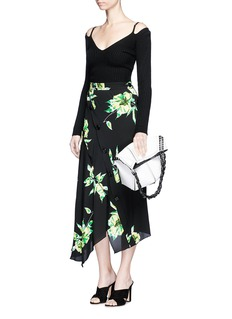 Proenza SchoulerFloral print asymmetric button silk skirt
