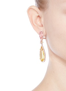 Anabela Chan 'Rose Papillon' detachable citrine 18k rose gold drop earrings