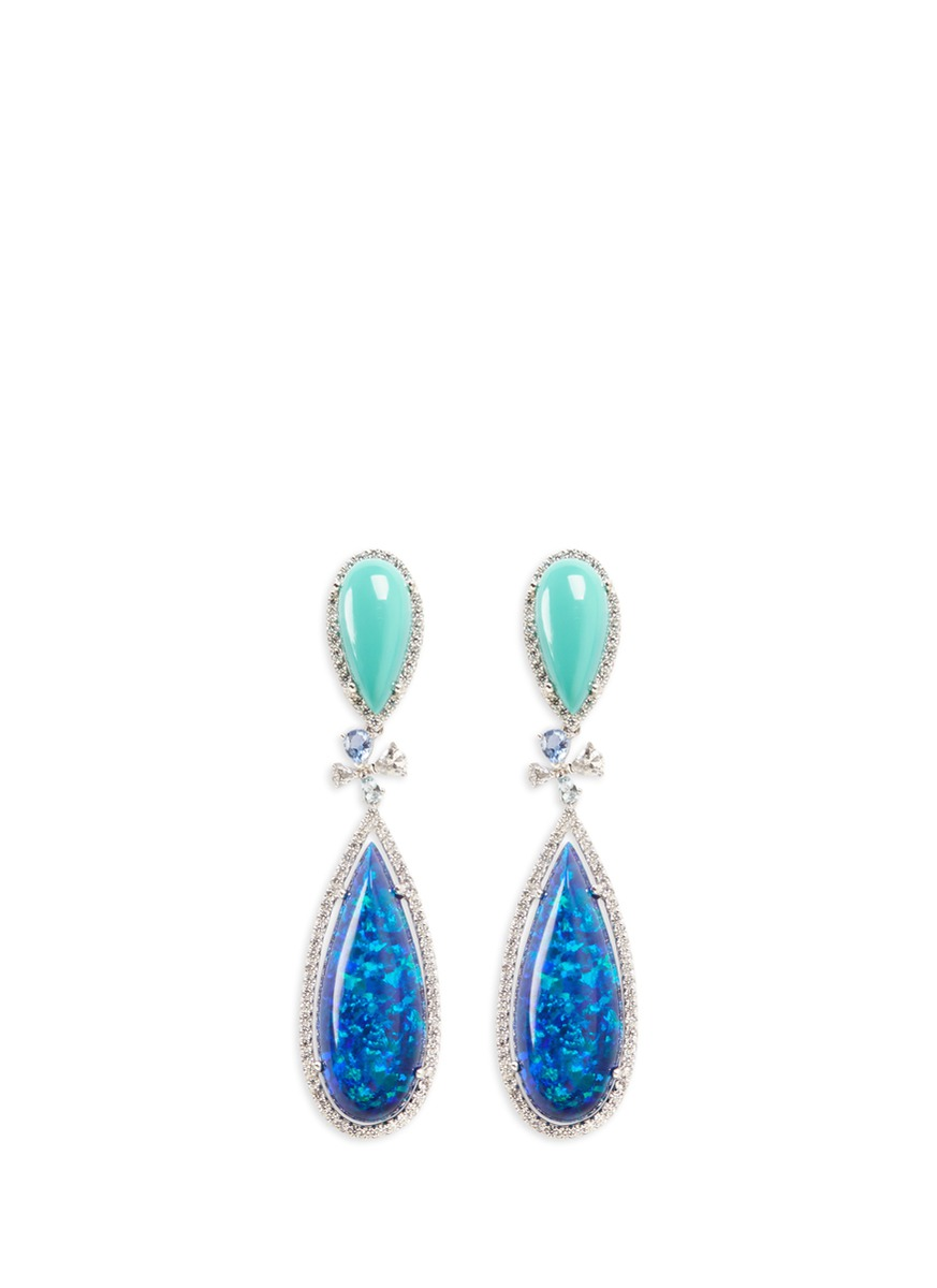 Papillion diamond detachable opal 18k white gold drop earrings by Anabela Chan