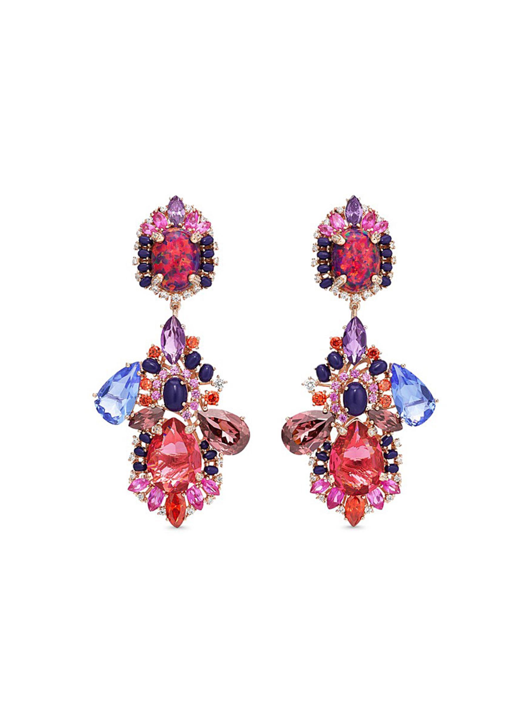 Opals Poseidon detachable gemstone 18k rose gold drop earrings by Anabela Chan