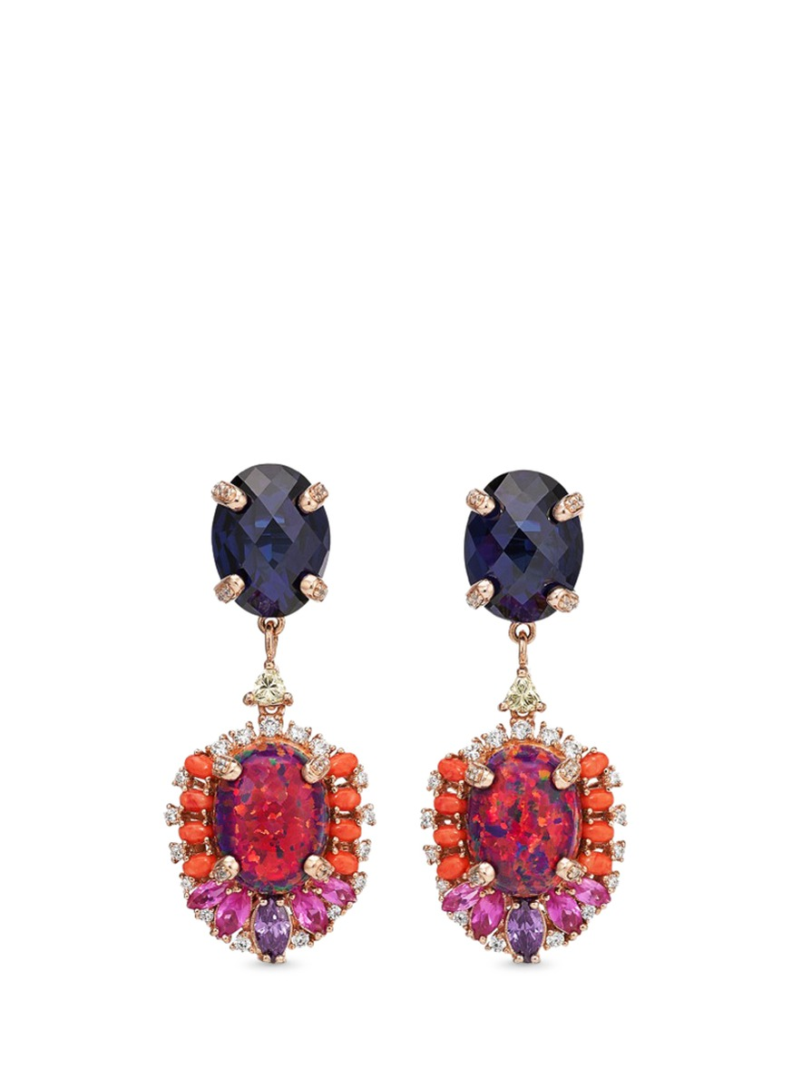Opals Violet detachable gemstone 18k rose gold drop earrings by Anabela Chan