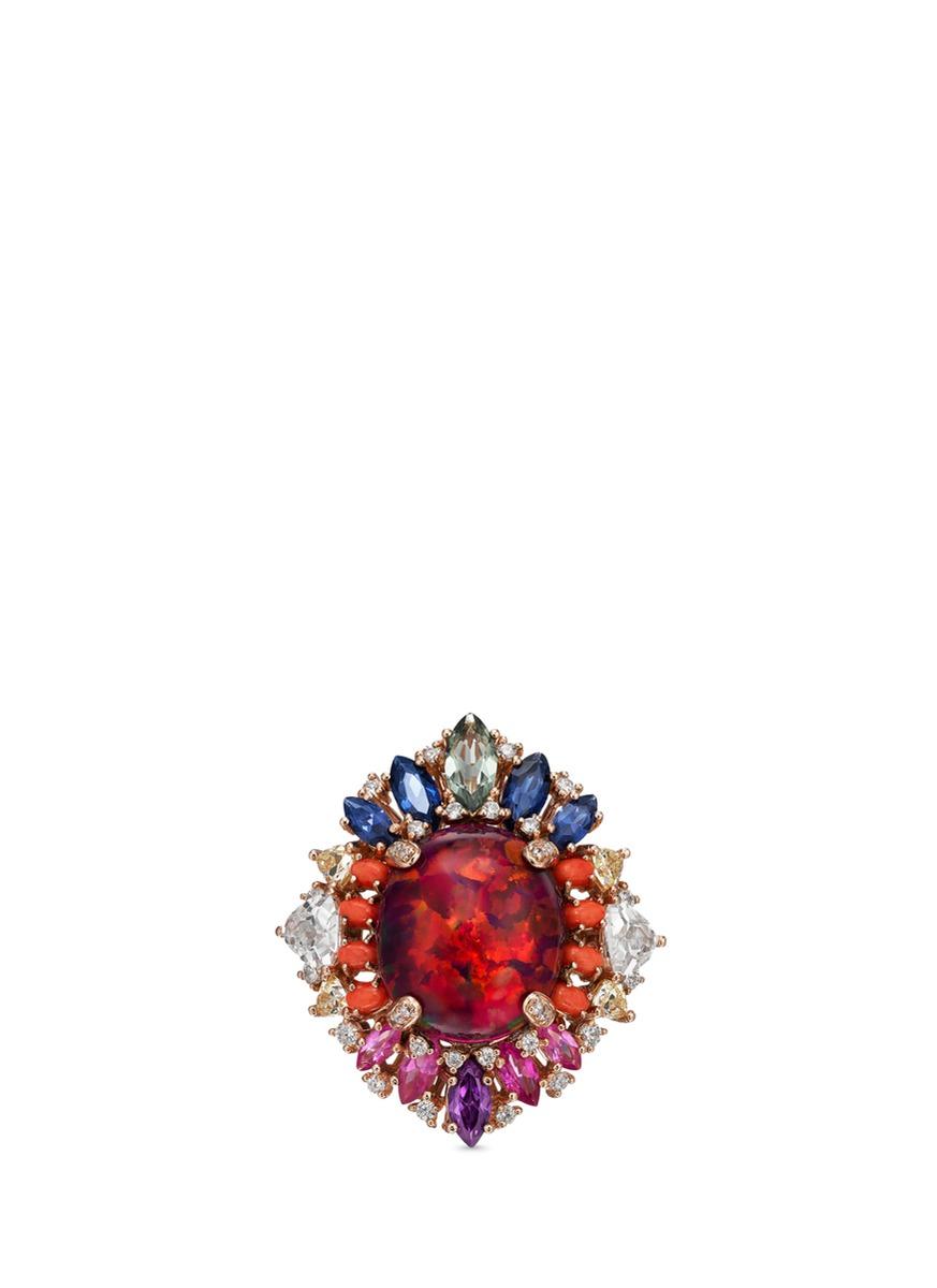Opals Nereides diamond gemstone 18k rose gold ring by Anabela Chan