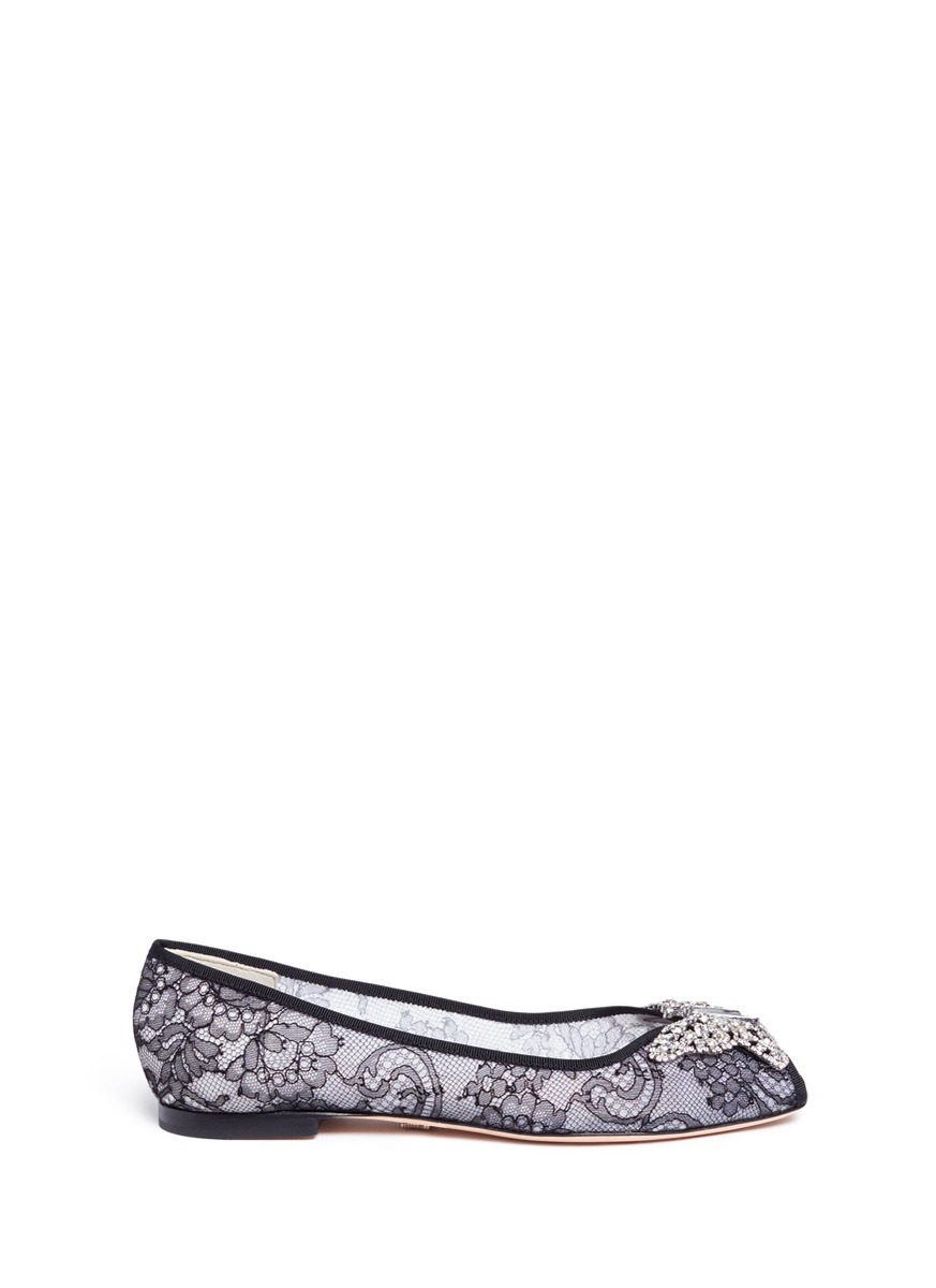 Liana crystal butterfly chantilly lace peep toe flats by Aruna Seth