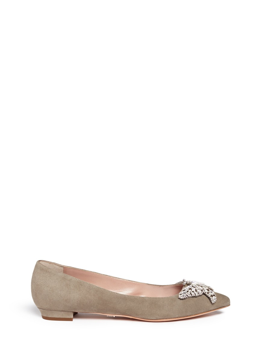 Cristy crystal pavé butterfly suede flats by Aruna Seth