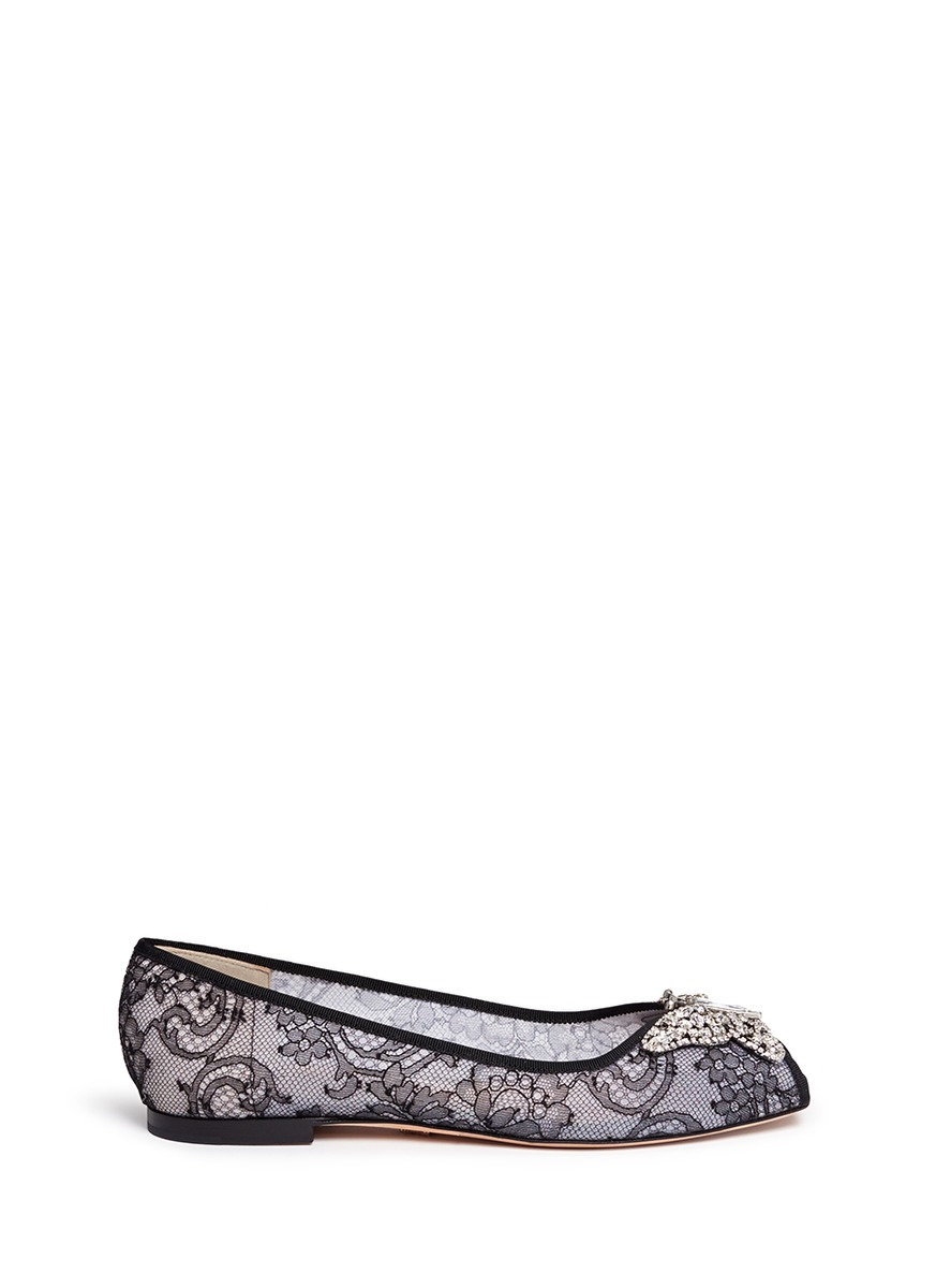 Liana crystal butterfly floral lace flats by Aruna Seth