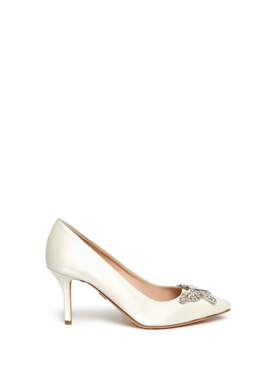 Farfalla crystal pavé butterfly satin pumps by Aruna Seth