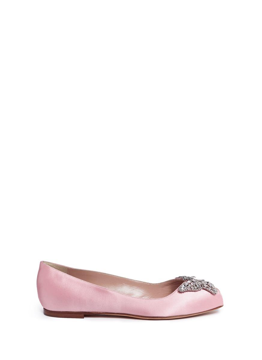 Liana crystal butterfly satin peep toe flats by Aruna Seth