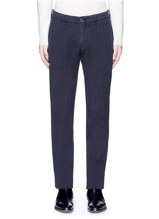Lardini-Cotton herringbone pants