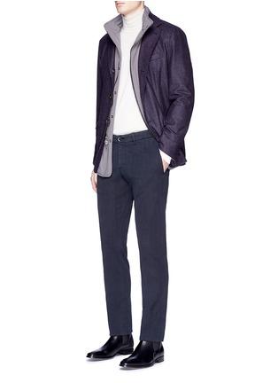Figure View - Click To Enlarge - Lardini - Cotton herringbone pants