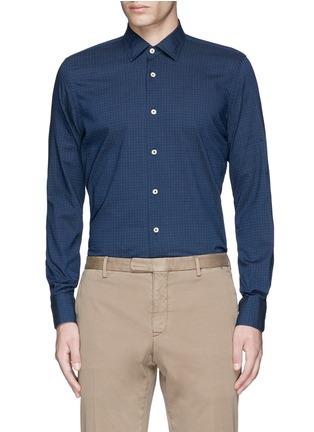 Main View - Click To Enlarge - Lardini - Houndstooth print cotton shirt