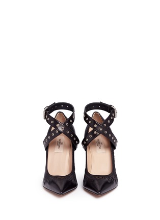 Front View - Click To Enlarge - Valentino - 'Love Latch' cross ankle strap leather pumps