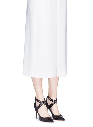 Figure View - Click To Enlarge - Valentino - 'Love Latch' cross ankle strap leather pumps