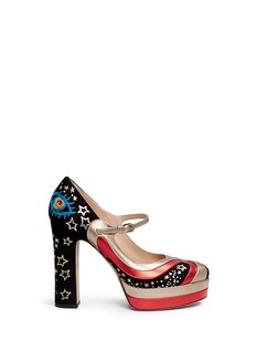 Valentino Galaxy star embroidered suede Mary Jane pumps