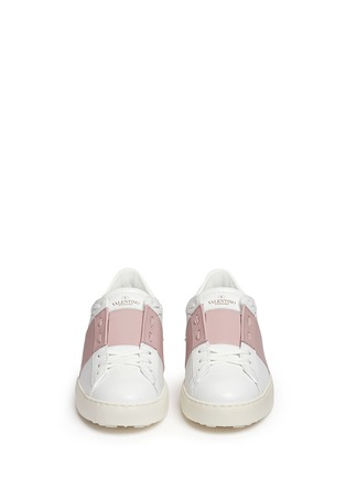 Front View - Click To Enlarge - Valentino - 'Rockstud' colourblock leather sneakers
