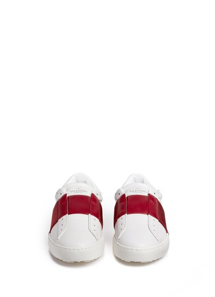 Front View - Click To Enlarge - Valentino - Colourblock leather slip-on sneakers