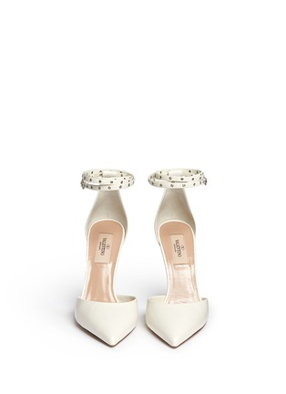 Front View - Click To Enlarge - Valentino - 'Love Latch' grommet wraparound ankle strap leather pumps