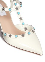 'Star Studded' cabochon patent leather pumps