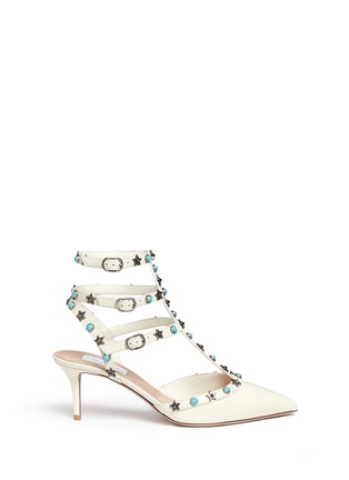 Main View - Click To Enlarge - Valentino - 'Star Studded' cabochon patent leather pumps