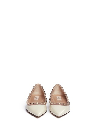 Front View - Click To Enlarge - Valentino - 'Rockstud' patent leather skimmer flats