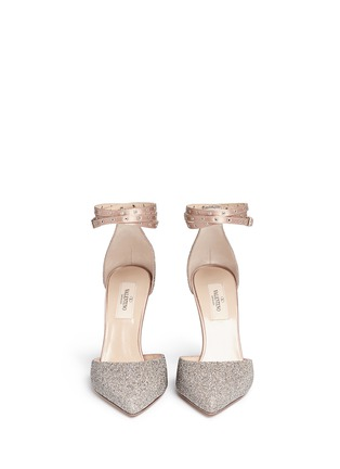 Front View - Click To Enlarge - Valentino - 'Love Latch' crystal dust wraparound ankle strap pumps