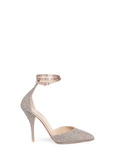 Valentino'Love Latch' crystal dust wraparound ankle strap pumps