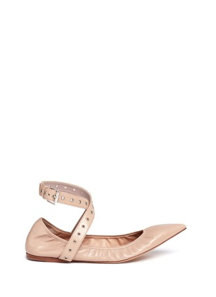 Main View - Click To Enlarge - Valentino - 'Love Latch' cross ankle strap leather skimmer flats