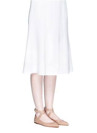 Figure View - Click To Enlarge - Valentino - 'Love Latch' cross ankle strap leather skimmer flats