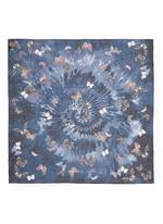Butterfly tie dye print cashmere-silk-wool scarf